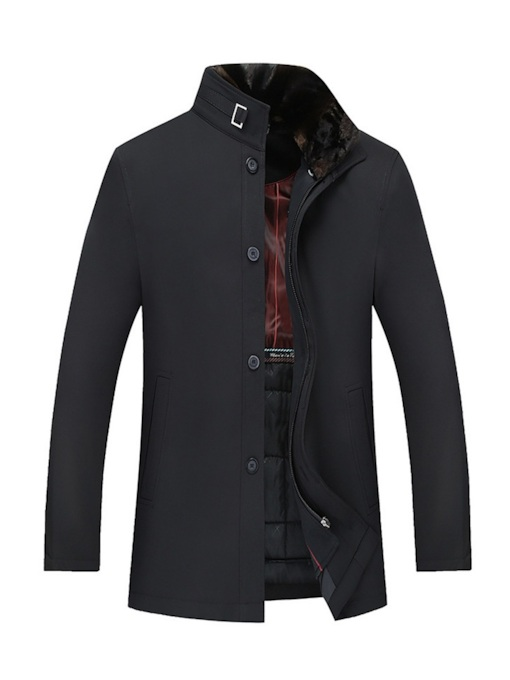 Thick Plain Slim Mid-Length Casual Men's Jacket
