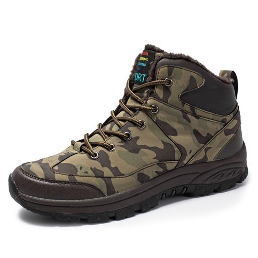Camouflage Round Toe Lace-Up Front Men's Winter Boots