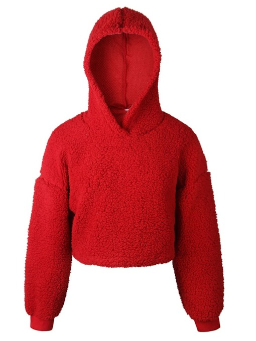 Plain Pullover Teddy Women's Cropped Hoodie
