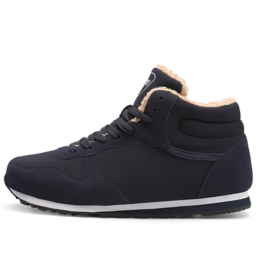 Lace-Up High-Cut Upper Round Toe Wool Men's Winter Sneakers