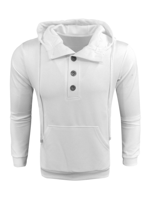 Loose Plain Pullover Button Men's Hoodie