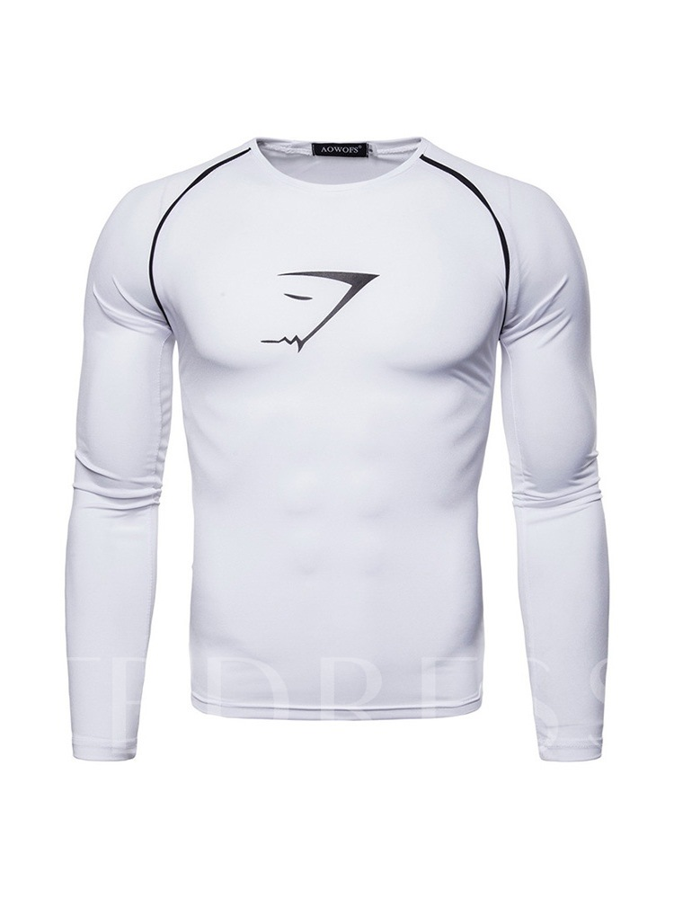 Slim European Round Neck Sport Men's T-shirt