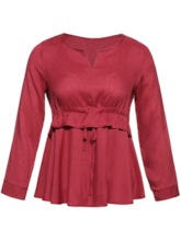 Slim Plain Falbala Plus Size Women's Blouse