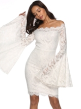 Flare Sleeve Bodycon Hollow Elegant Women's Lace Dress