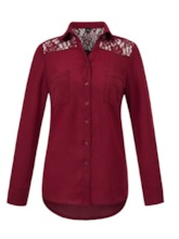 Lace See-Through Dual Pockets Women's Shirt