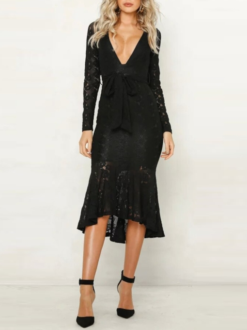 Lace-Up Long Sleeve Patchwork Fall Women's Lace Dress