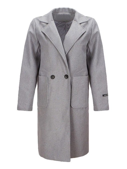 Notched Lapel Dual Pockets Women's Overcoat