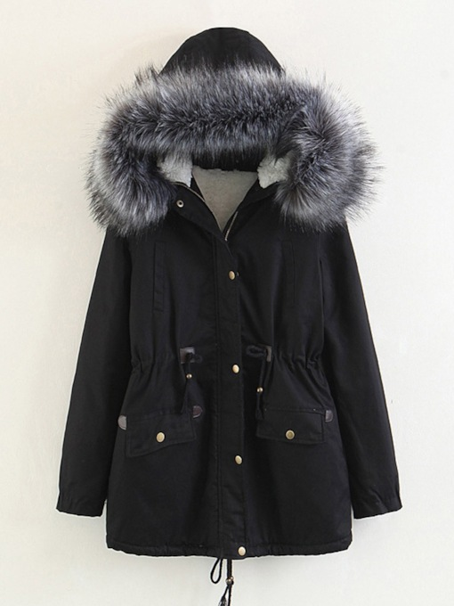 Thick Faux Fur Hooded Women's Cotton Padded Jacket