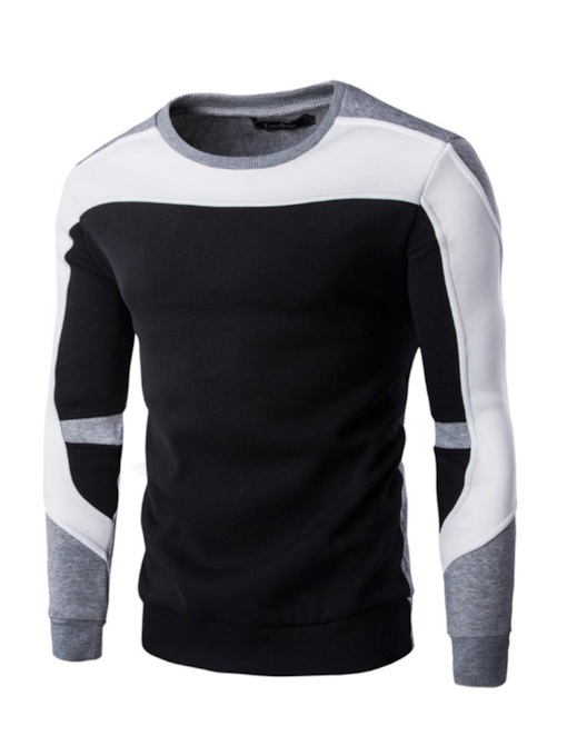 Sport Color Block Patchwork Slim Men's Sweatshirt