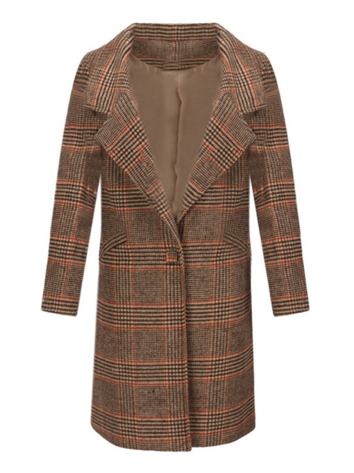Notched Lapel One Button Houndstooth Women's Overcoat
