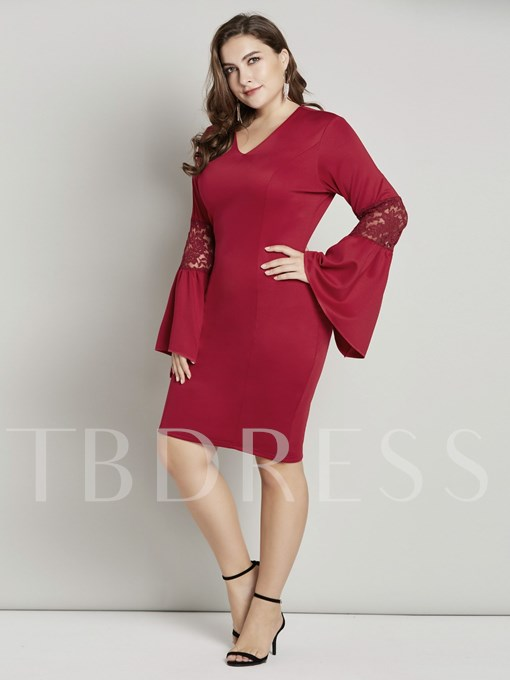 Christmas Flare Sleeve V-Neck Women's Lace Dress