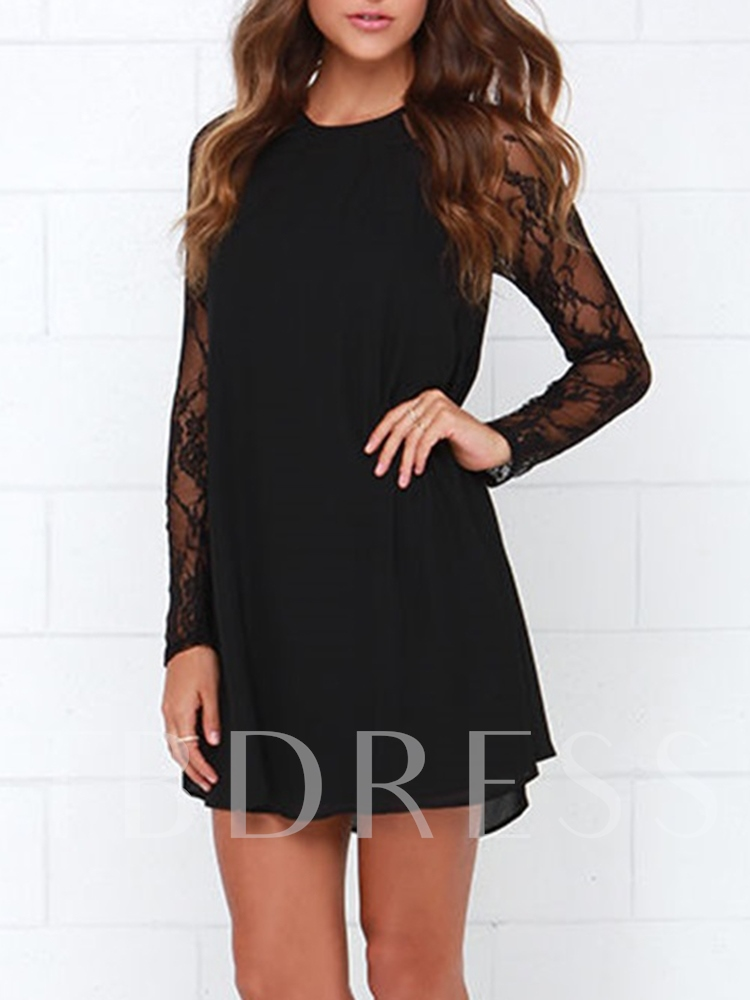 Round Neck Long Sleeve Patchwork Spring Women's Lace Dress