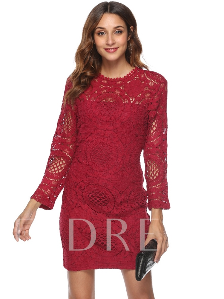 Regular Bodycon Backless Women's Lace Dress