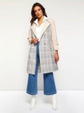 Double-Breasted Notched Lapel Raglan Sleeve Women's Trench Coat