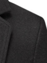 Mid-Length Plain Notched Lapel Men's Coat