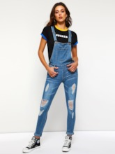 Denim Hole Full Length Slim Women's Overalls