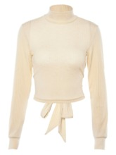 Turtleneck Lace-Up Backless Women's Sweater