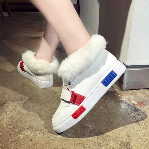 Color Block Platform Round Toe Lace-Up Front Casual Winter Boots