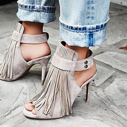 371c1416dbd9 Strappy Buckle Stiletto Heel Peep Toe Fringe Women s Sandals