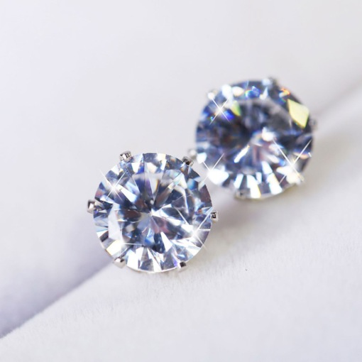 Concise Round Diamante Alloy Stud Earrings