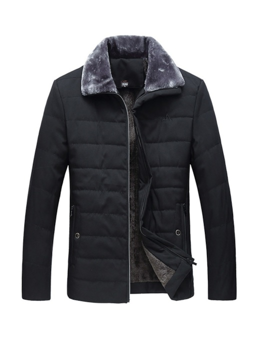 Plain Fur Lapel Zipper Men's Down Jacket