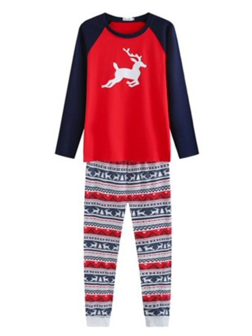 Cotton Christmas Elk Print Family Pajamas