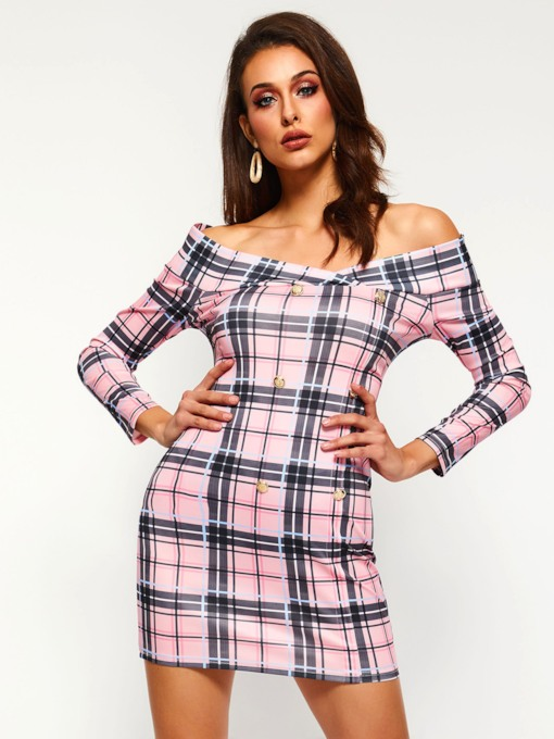 Pullover Off Shoulder Plaid Women's Long Sleeve Dress