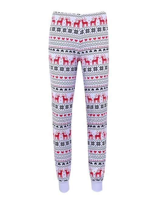 Christmas Snowflake Elk Skinny Pajama Pants for Women