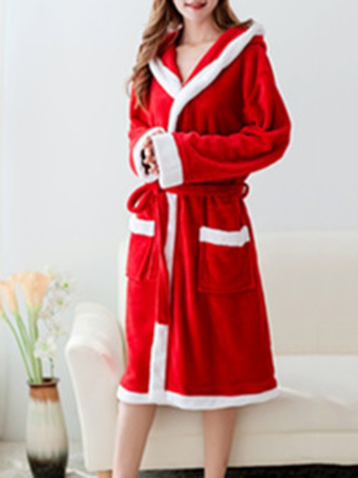 Long Red Christmas Robe for Women