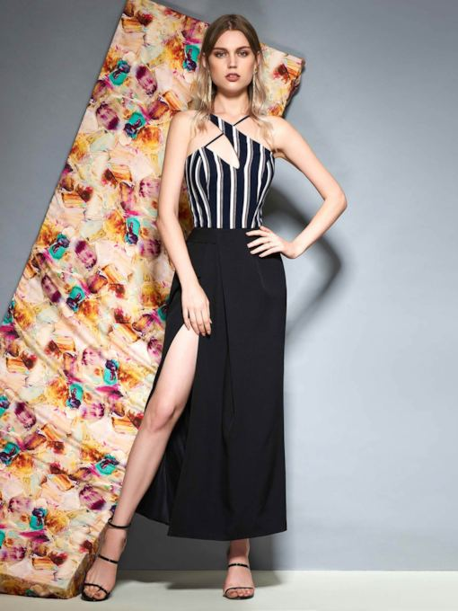 Halter Sleeveless Ankle-Length Split-Front Evening Dress