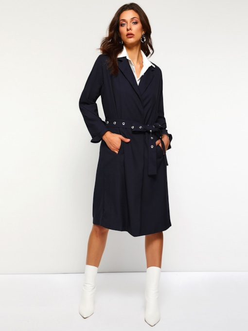 Straight Notched Lapel Plain Women's Overcoat