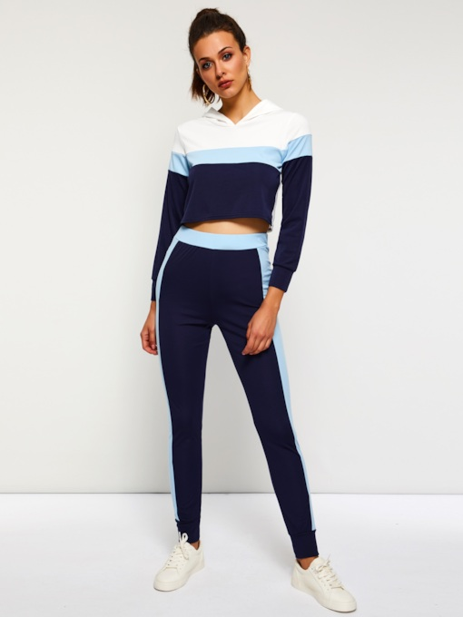 Color Block Casual T-Shirt and Pencil Pants Women's Two Piece Set