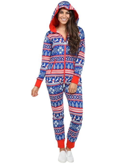 Christmas Print Hooded Bodysuit Pajama for Women