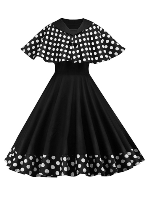 Patchwork Polka Dots Vintage Women's Day Dress
