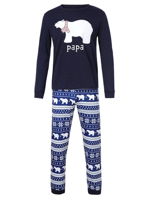Christmas Bear Letter Print Family Pajamas