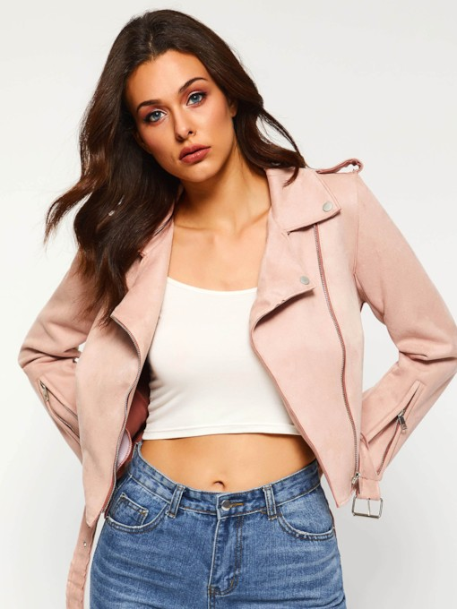 Nine Points Sleeve Notched Lapel Women's Jacket