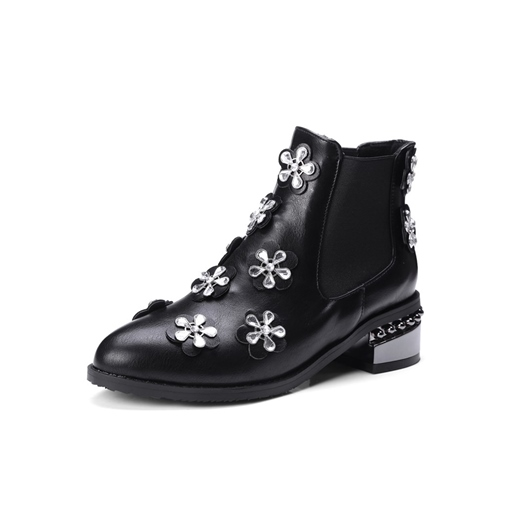 Round Toe Chunky Heel Slip-On Banquet Appliques Customized Ankle Boots