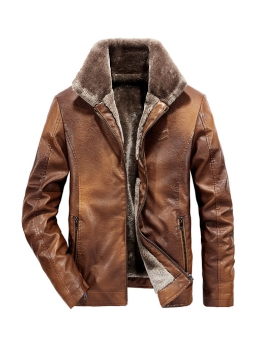Fur Lapel Plain Men's Leather Jacket