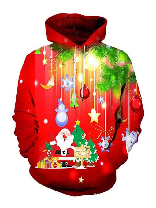 Ugly Christmas Print Casual Pullover Loose Men's Hoodie