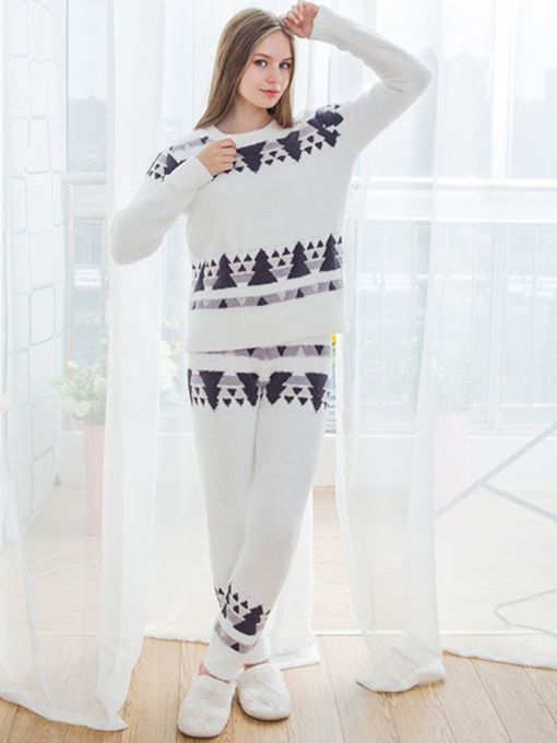 Christmas Tree Print Simple Sleepwear for Women