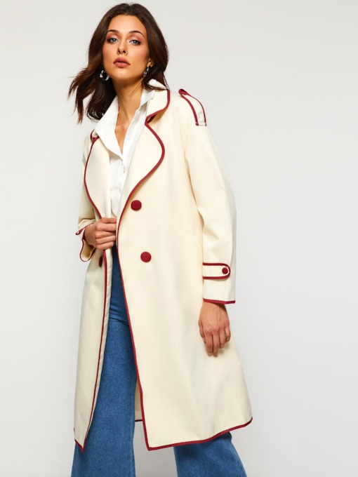 Notched Lapel Double-Breasted Women's Trench Coat