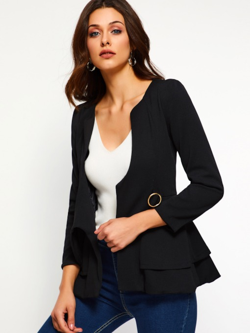 Nine Points Sleeve Plain Falbala Women's Blazer