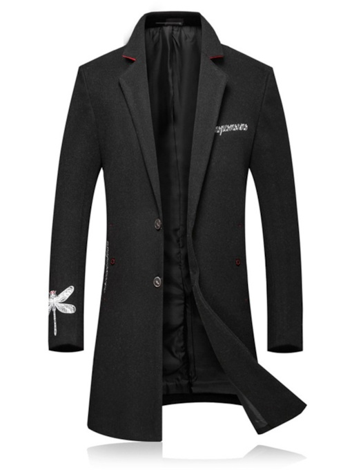 Embroidery Mid-Length Notched Lapel Slim Men's Coat