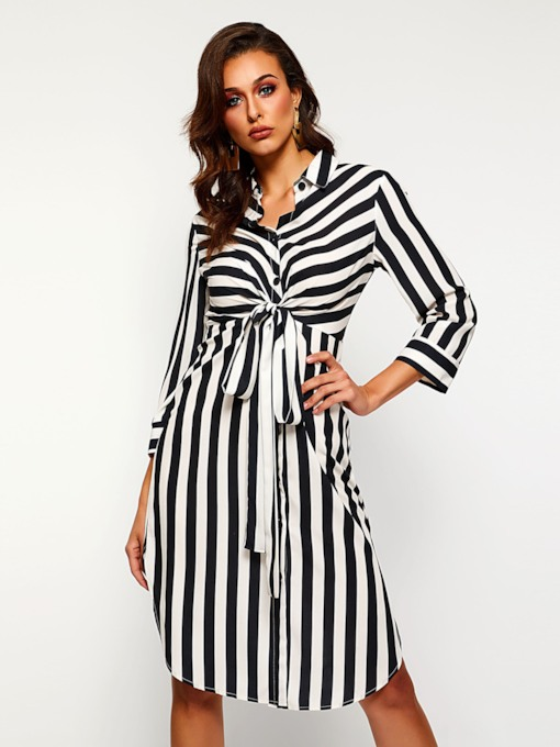Lapel Lace-Up Stripe Women's Long Sleeve Dress