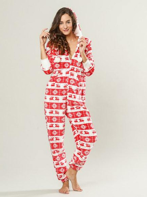 Christmas Print Long Sleeve Bodysuit Pajama for Women