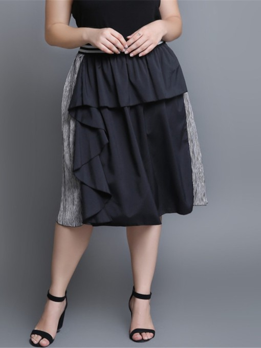 Plus Size Pleated A-Line Color Block Casual Women's Skirt