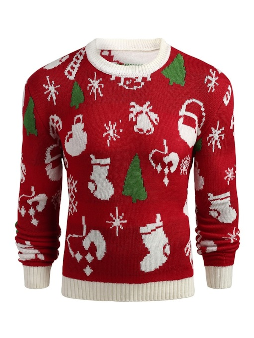 Ugly Christmas Scoop Neckline Pullover Men's Sweater