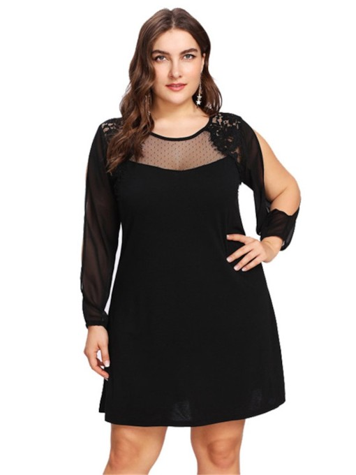 Plus Size Round Neck Patchwork Women's Long Sleeve Dress