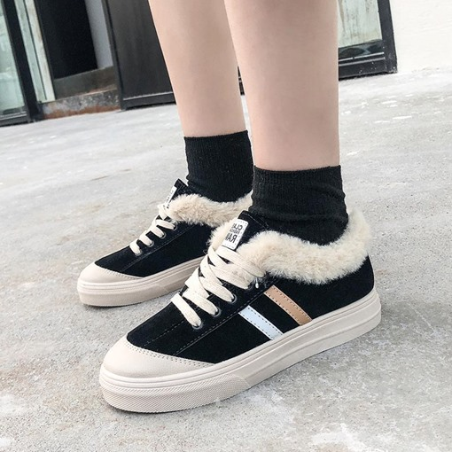 Purfle Lace-Up Round Toe Low-Cut Upper Casual Women's Sneakers