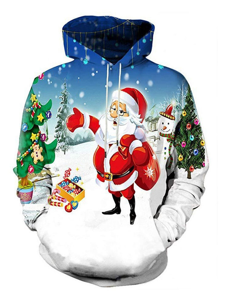 Ugly Christmas Print European Pullover Loose Men's Hoodie